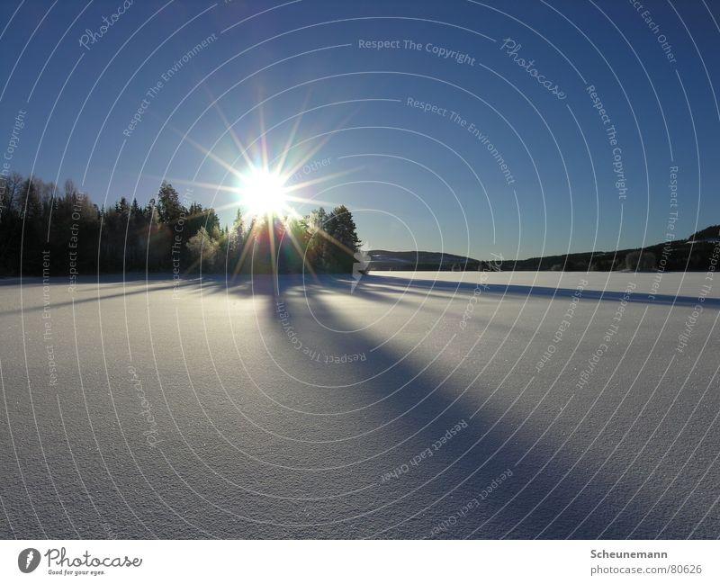 Sonnenuntergang Himmel Sonne blau Winter Ferne kalt Schnee Stimmung Beleuchtung Niveau Klarheit natürlich Schönes Wetter Lichtbrechung ursprünglich Flutlicht