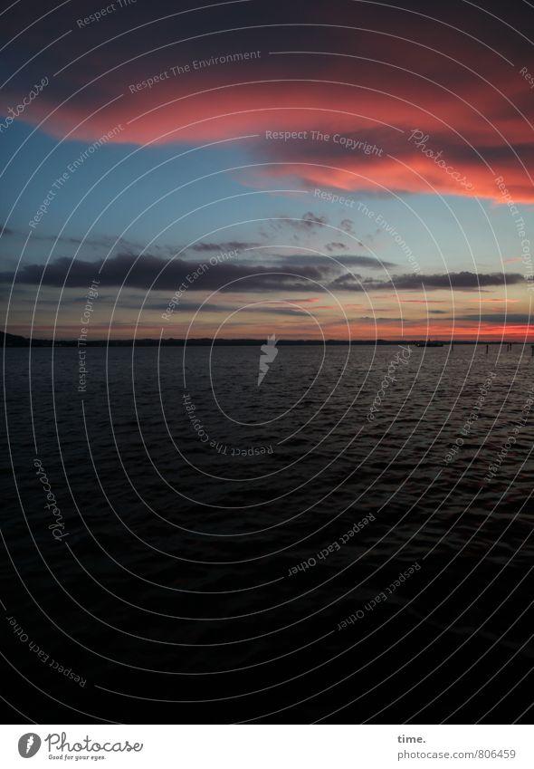 Watteträumchen Himmel Natur schön Wasser Sommer ruhig Wolken Umwelt Gefühle Küste Zeit See Stimmung Horizont träumen Idylle