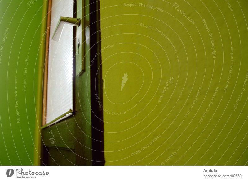 tür_01 schließen Griff Fenster Holz dunkel Wand Haus Froschperspektive grün gelb Fensterscheibe Eingang Lichteinfall intern Einfamilienhaus Architektur