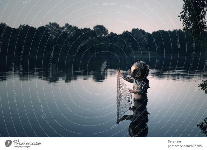Walfänger Mensch Natur Sommer Landschaft Umwelt Küste Spielen See Freizeit & Hobby Kreativität nass Schönes Wetter Seil Netz Basteln Helm