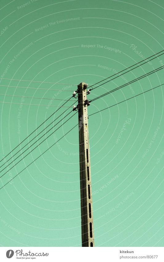 electricity no. 2 Sommer Linie Industrie Energiewirtschaft Elektrizität Kabel Verbindung türkis Schönes Wetter Leitung Hochspannungsleitung Stromausfall