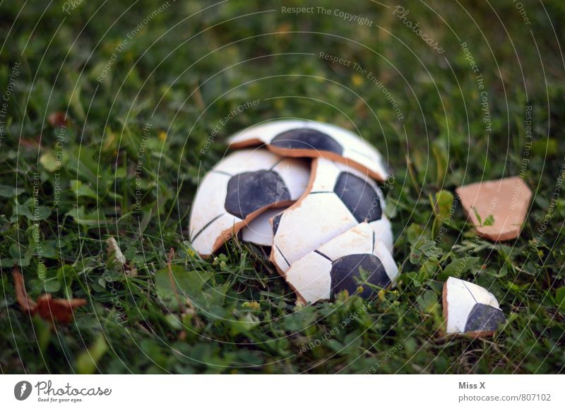 Vorbei Sport Ballsport Sportveranstaltung Verlierer Fußball Sportstätten Fußballplatz Gras Wiese kaputt Gefühle Stimmung Traurigkeit Verzweiflung Volksglaube