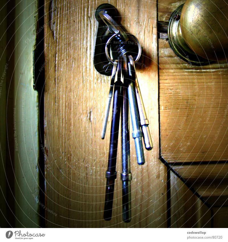hinter schloss und riegel alt Holz Metall Wärme Angst Tür Sicherheit Landhaus Schutz Physik Vergangenheit Eingang Schloss Flur Schlüssel Griff