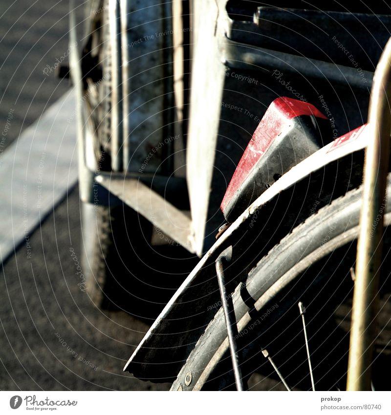 Fahrad für zett Speichen Schutzblech Fahrrad Verkehr Rücklicht Beton Asphalt Stahl Blech fahren Licht Unbeschwertheit Unbekümmertheit Fahrzeug Freude