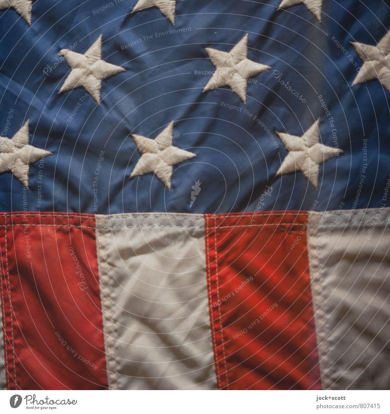Stern und Streifen blau weiß rot Kraft elegant Dekoration & Verzierung Streifen Grafik u. Illustration Stern (Symbol) Macht Zeichen Stoff Falte Fahne Leidenschaft Sammlung