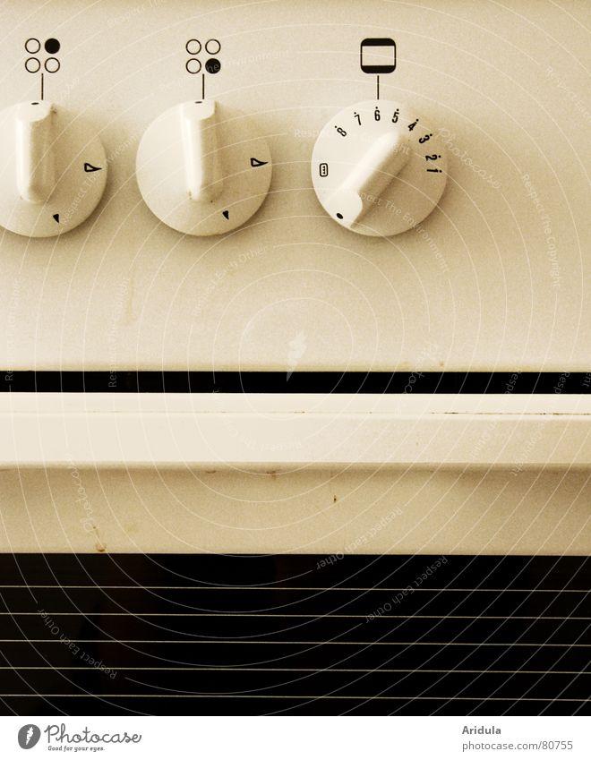 küche_01 Gasherd Ikon Herd & Backofen Physik heiß dreckig graphisch Symbole & Metaphern Haushalt Küche kochen & garen Mahlzeit Anpassung drehknopf altweiss