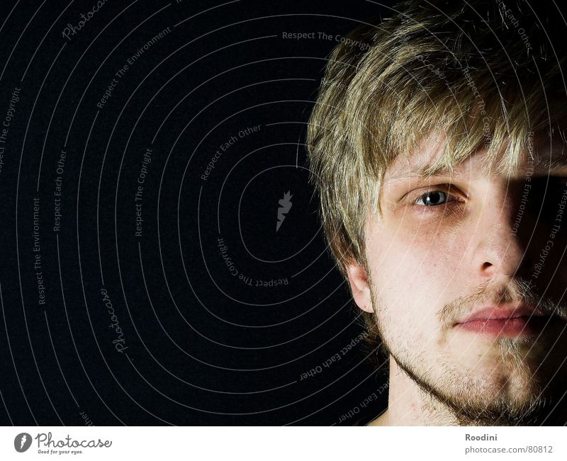 konfrontation Porträt Mann Bart Fragen Perspektive Gesicht Gesichtsausdruck ruhig gefühlsarm kalt Licht schön Junger Mann Gefühle ästhetisch attraktiv