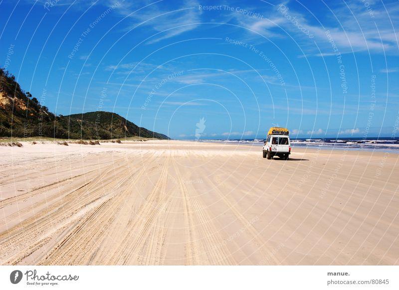 Don't swim and drive Natur Himmel Meer Strand Straße Freiheit Wege & Pfade Sand Küste Wind Umwelt Horizont Verkehr Geschwindigkeit Abenteuer mehrere