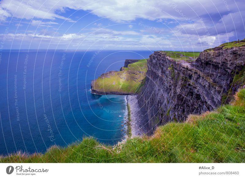 Cliffs of Moher Natur Landschaft Wasser Wolkenloser Himmel Horizont Gras Küste Republik Irland Menschenleer Sehenswürdigkeit Wahrzeichen blau grün türkis