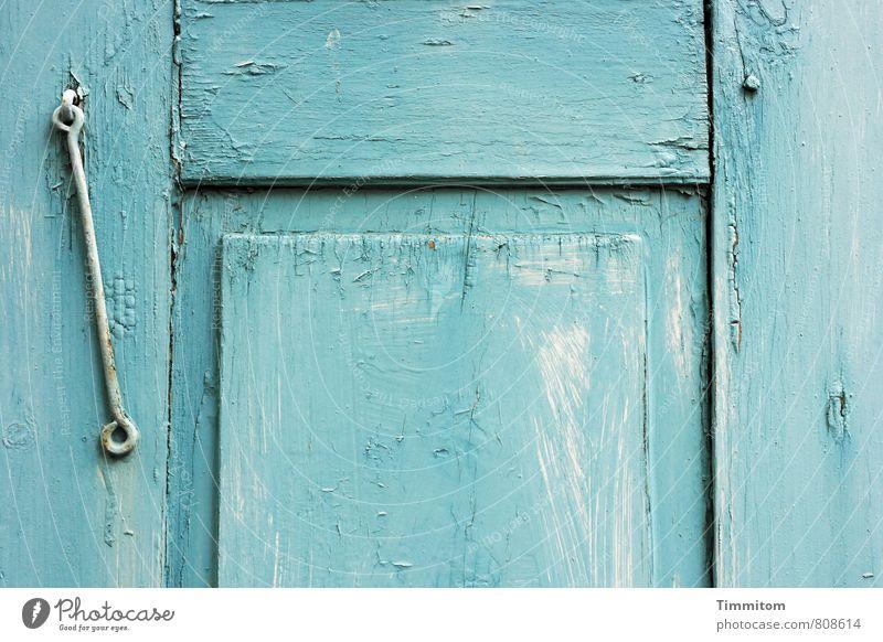 Fensterladen. Haus Metallwaren Holz ästhetisch einfach blau weiß Gefühle Riss Linie verwittert Farbfoto Gedeckte Farben Außenaufnahme Menschenleer