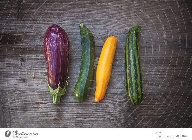 gemüse Gesunde Ernährung natürlich Gesundheit Lebensmittel frisch Ernährung Gemüse lecker Appetit & Hunger Bioprodukte Vegetarische Ernährung Holztisch Zucchini Aubergine