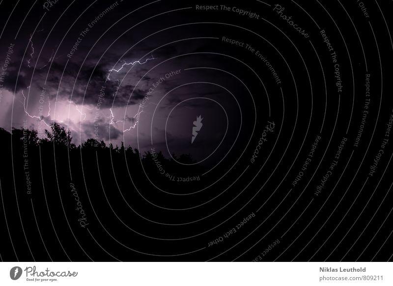 Nächtliches Herbstgewitter Natur Himmel Gewitterwolken Wetter schlechtes Wetter Unwetter Blitze beobachten gigantisch natürlich violett schwarz weiß Kraft Angst