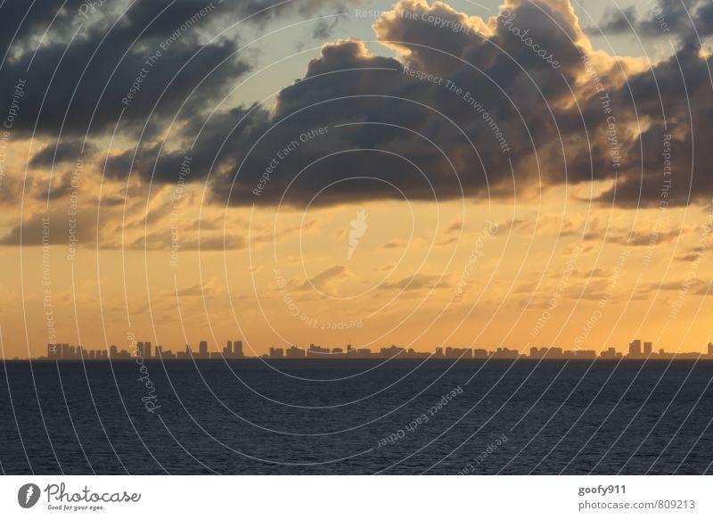 Miami Florida Stadt Skyline Gebäude blau gelb orange Farbfoto Außenaufnahme Dämmerung Sonnenaufgang Sonnenuntergang Panorama (Aussicht) Blick nach vorn