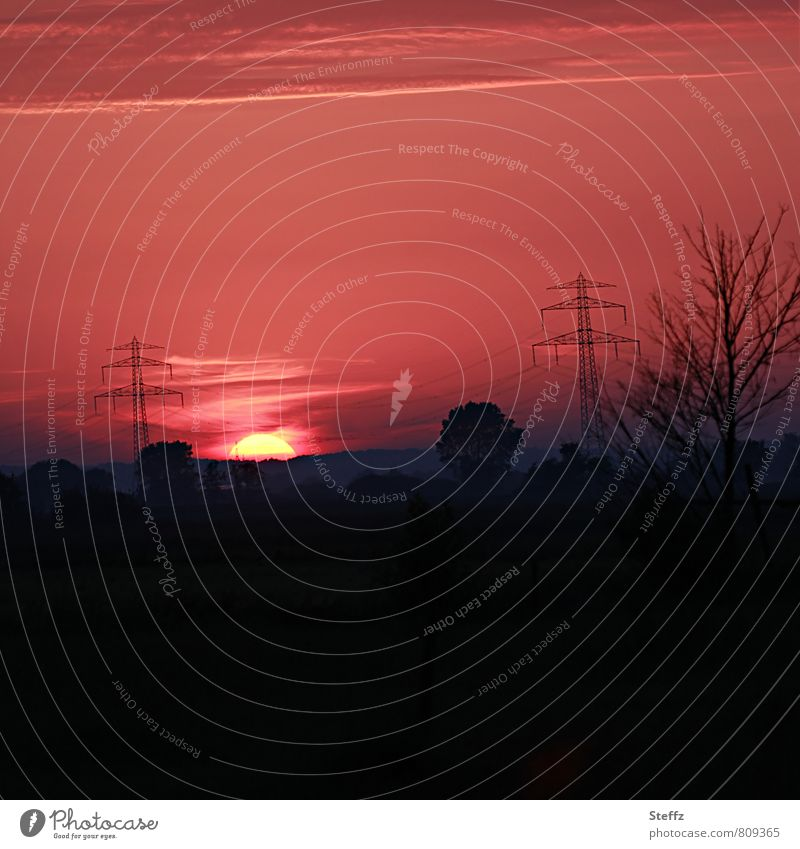 ruhige Abendstimmung in Niedersachsen Sonnenuntergang Abendstille heimisch heimische Landschaft Sehnsucht abendliche Ruhe abendliche Stille Silhouette
