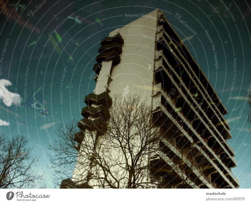 UNTERFLÄCHLICH TIEF Pfütze wirklich Nebel nass Herbst Haus Hochhaus Gebäude Material Fenster live Block Beton Etage trist dunkel Leidenschaft Spiegel Vermieter