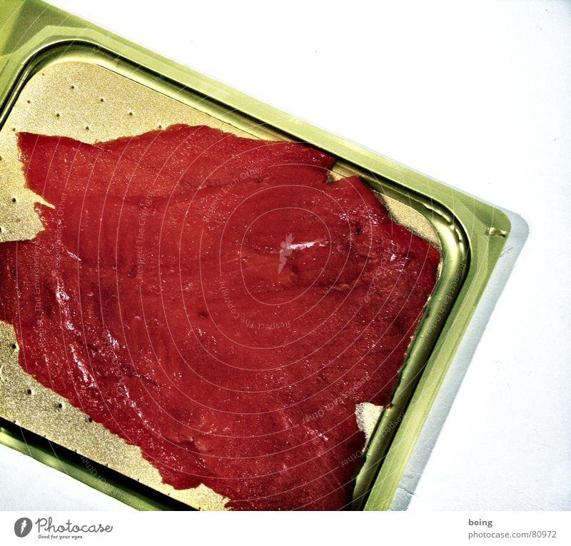 die fesche Lola Fisch offen Scheibe Lachs Foodfotografie Verpackungsmaterial geräuchert Räucherlachs Vor hellem Hintergrund