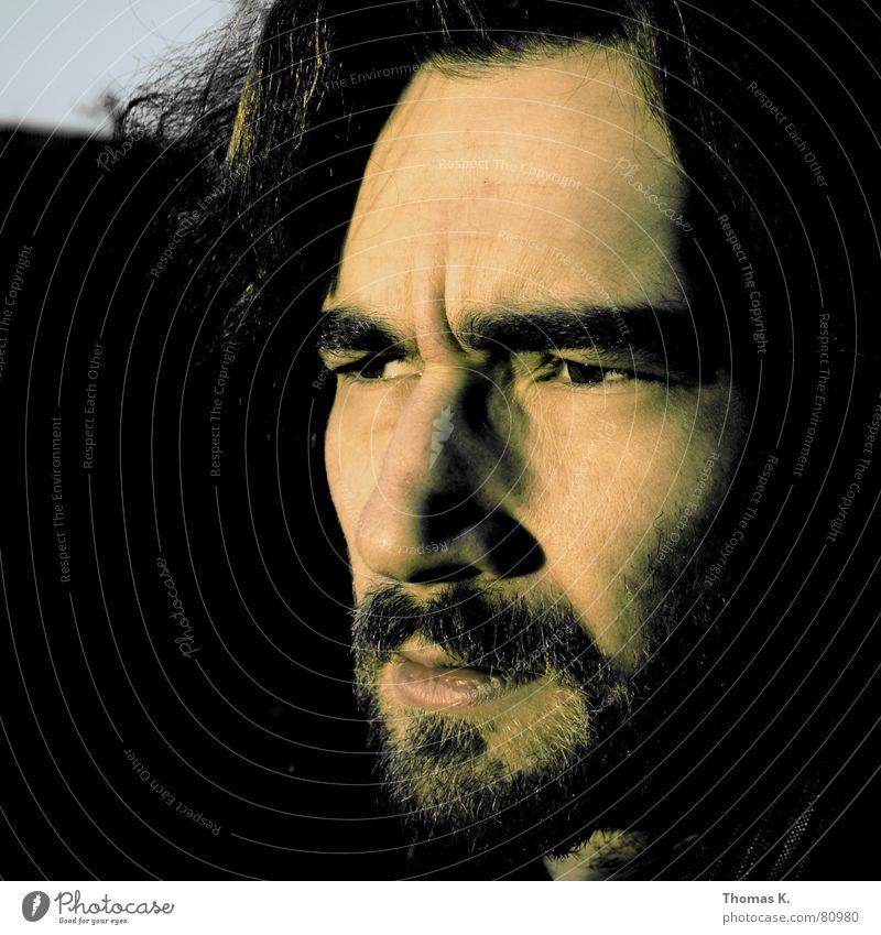 Your Own (oder™: Personal Jesus ) Mann Gesicht Auge dunkel Gefühle Erwachsene Denken Stimmung Mund Nase beobachten Bart Selbstportrait ernst Vollbart