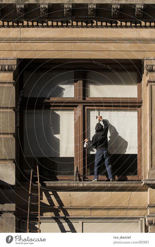 Fensterputzer in New York Arbeit & Erwerbstätigkeit Beruf Dienstleistungsgewerbe Leiter Mensch 1 Bauwerk Gebäude Glas Reinigen hoch oben Sauberkeit Tatkraft
