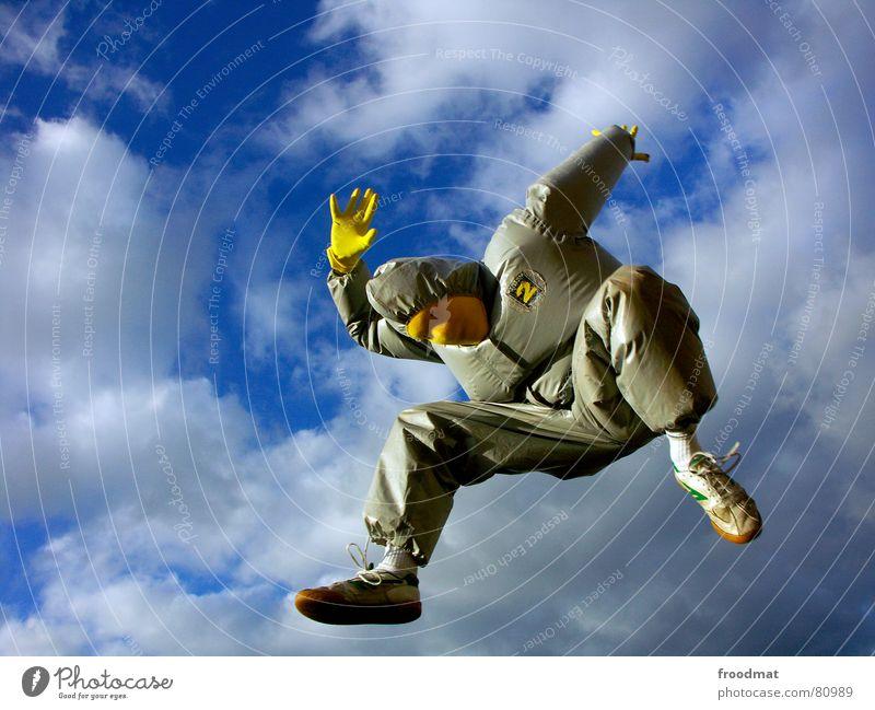 grau™ - luftnummer gelb grau-gelb Anzug Gummi Kunst dumm sinnlos ungefährlich verrückt lustig Freude springen Wolken Handschuhe Kunsthandwerk abstrakt Maske