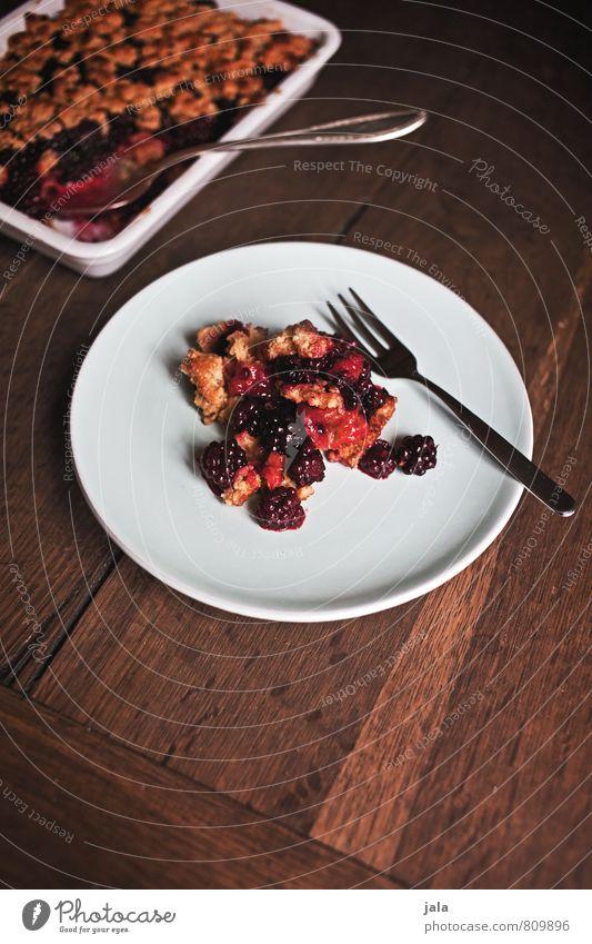 crumble Lebensmittel Frucht Kuchen Streusel Brombeeren Ernährung Kaffeetrinken Bioprodukte Vegetarische Ernährung Geschirr Teller Schalen & Schüsseln Besteck