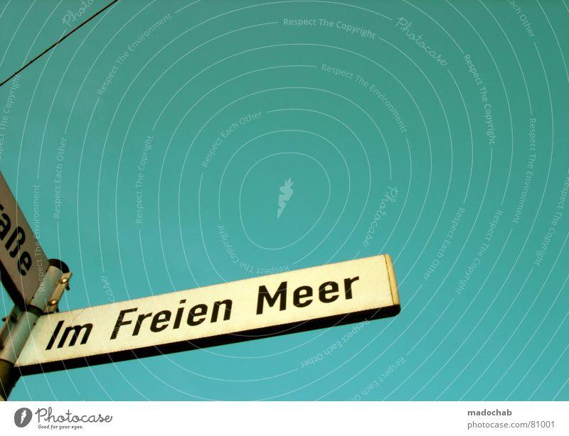 ZIMMER FREI Straßennamenschild Typographie türkis grün Buchstaben Himmel Linie einfach graphisch Schilder & Markierungen Schriftzeichen Gefühle strassenname