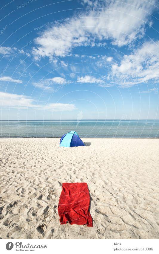 Platz besetzt Himmel Ferien & Urlaub & Reisen Sommer Meer Erholung ruhig Wolken Strand Ferne Schwimmen & Baden Freiheit Sand Horizont Freizeit & Hobby