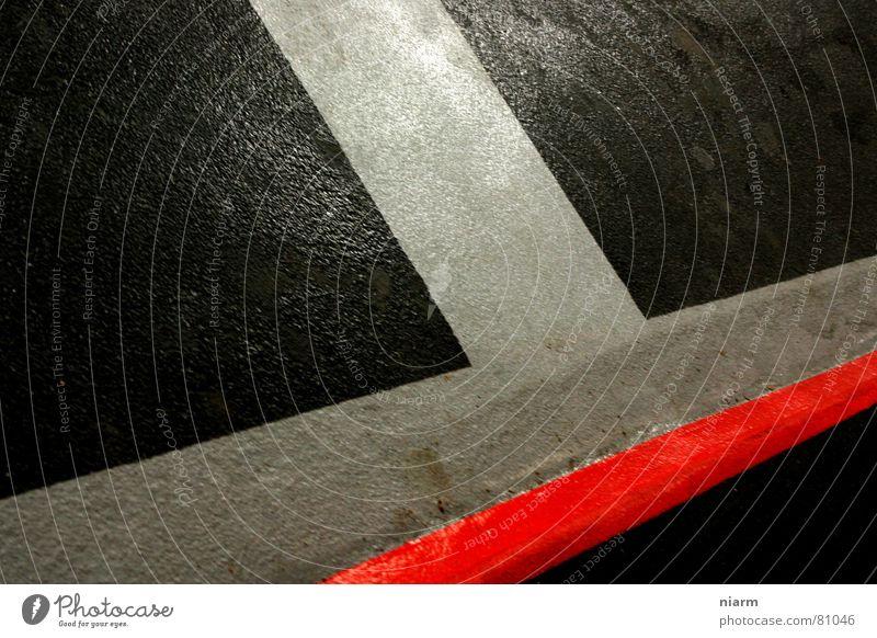 n echter hatlatschka rot schwarz Farbe grau Lampe Linie verrückt Grafik u. Illustration Asphalt diagonal Grenze Verkehrswege Verschiedenheit Neigung Nähgarn