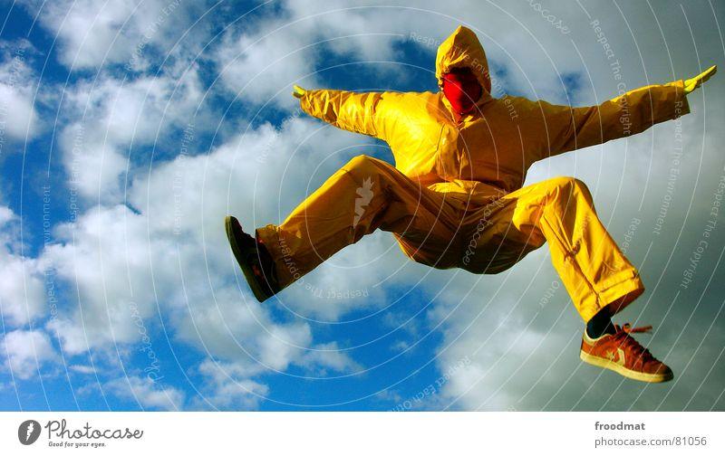 gelb™ - in der Luft grau grau-gelb Anzug rot Gummi Kunst dumm sinnlos ungefährlich verrückt lustig Freude springen Kunsthandwerk froodmat Maske Surrealismus