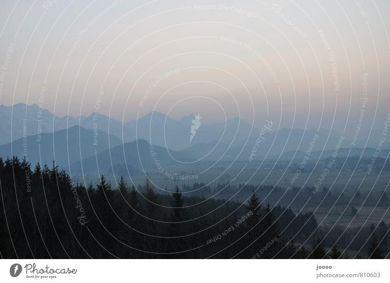 Abenddunst Landschaft Horizont Nebel Gipfel Alpen Gelassenheit Allgäuer Alpen