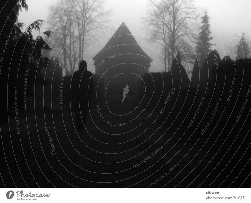 die Toten bleiben! Mensch ruhig Einsamkeit schwarz Leben dunkel Tod grau Wege & Pfade Traurigkeit Religion & Glaube Angst gehen Nebel Rücken trist