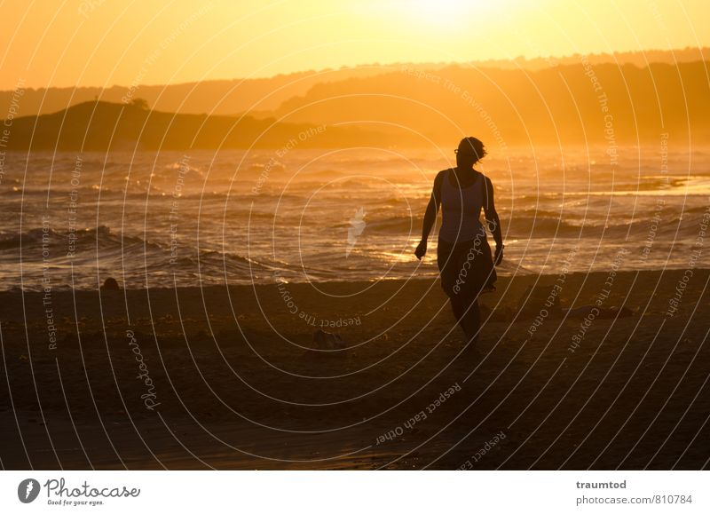 Strandspaziergang Ferien & Urlaub & Reisen Sommer Sonne Meer Ferne gelb Wärme feminin Freiheit Stimmung träumen Wellen Zufriedenheit gold Tourismus