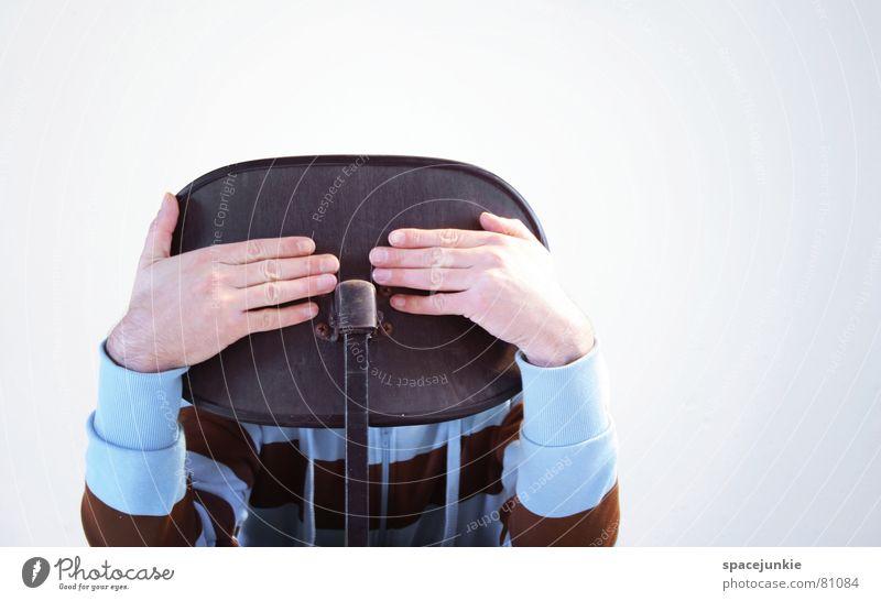 Behind the chair Hand Business Stuhl schreiben verstecken Sitzgelegenheit Versteck Stuhllehne Büroarbeit Bürostuhl