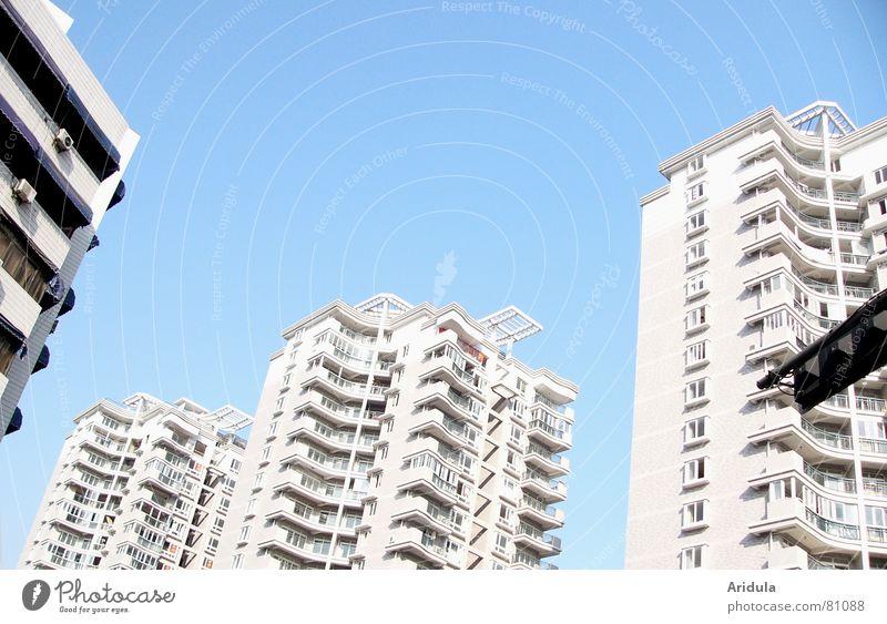 china_09 Himmel weiß Stadt Haus Leben hell Wohnung Häusliches Leben Klarheit Mitte Asien Balkon China Schönes Wetter bauen anonym