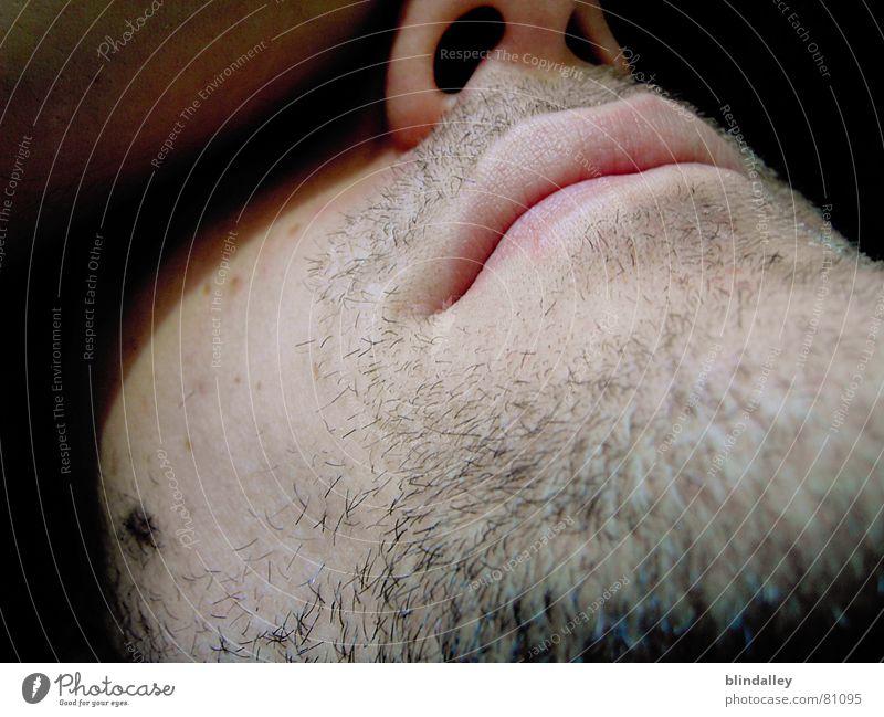 ChillOut Digitalkamera Bart schlafen ruhig Mann Innenaufnahme Makroaufnahme Nahaufnahme Gesicht Mund liegen Perspektive Schatten Haut Nase