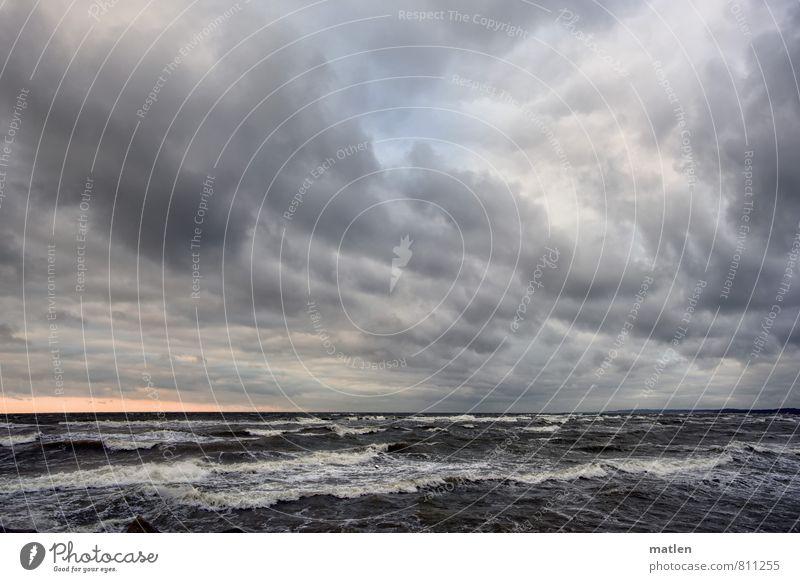 dreiwettertaff Himmel blau weiß Wasser Meer Landschaft Wolken Frühling grau Horizont rosa Wetter Wellen Wind Ostsee Sturm