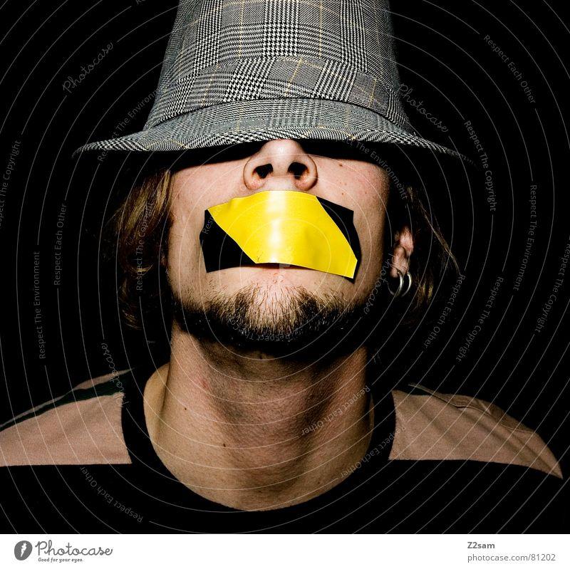 quiet please! Mensch Mann Gesicht gelb Stil Haare & Frisuren grau Mund Angst Streifen Bart Hut kleben Ohrringe gefesselt