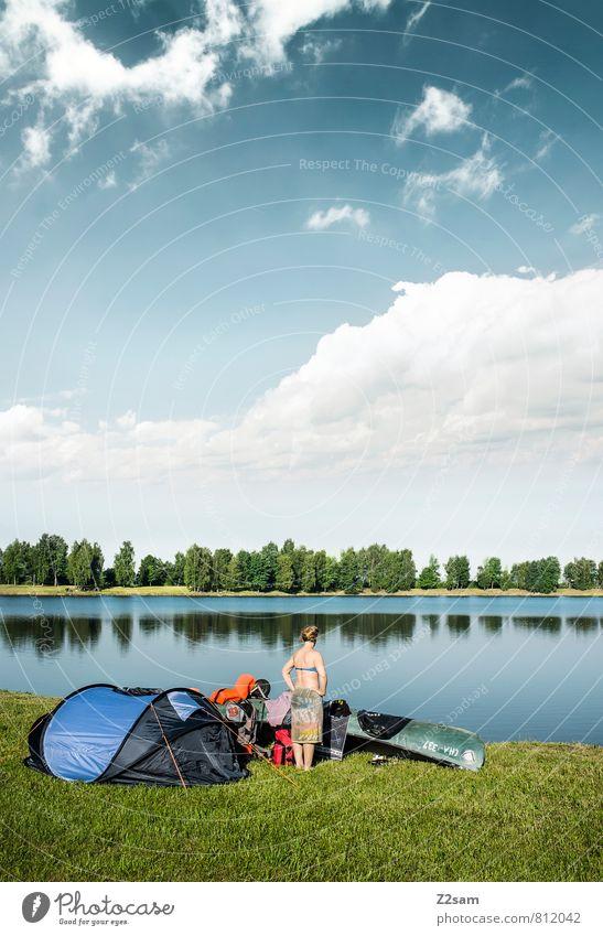 Ankunft Ferien & Urlaub & Reisen Tourismus Ausflug Freiheit Sommer Sommerurlaub Kanutour feminin Junge Frau Jugendliche 18-30 Jahre Erwachsene Natur Landschaft