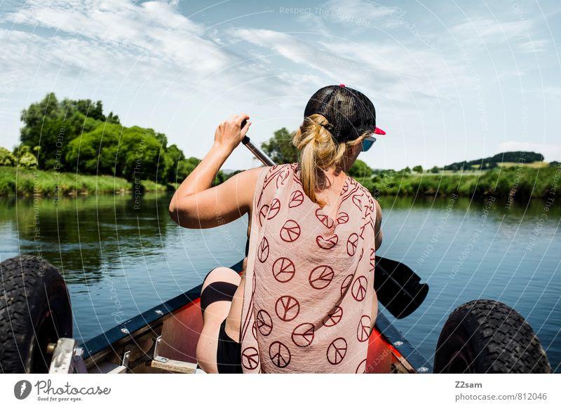Piratin III Ferien & Urlaub & Reisen Ausflug Sommerurlaub wandern Kanutour Kanusport feminin Junge Frau Jugendliche 18-30 Jahre Erwachsene Landschaft Himmel