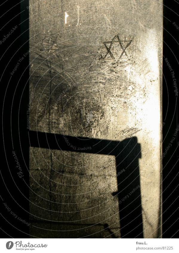 Schild Davids Degersen Dorf Verkehr Graffiti Zusammensein Hoffnung schuldig Religion & Glaube Moral Zerstörung widersetzen Israel Judentum Glasscheibe