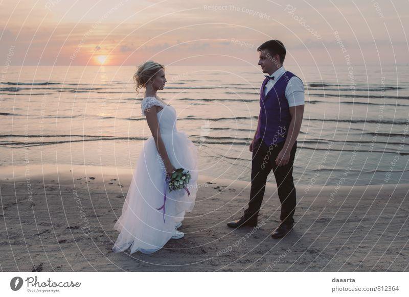 Seeseite elegant Stil Freude schön Leben harmonisch Erholung Hochzeit Junge Frau Jugendliche Junger Mann Familie & Verwandtschaft Partner 2 Mensch Natur Wolken