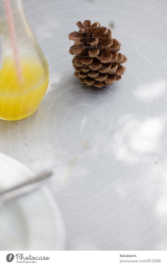 mit getränk. Ernährung Getränk Erfrischungsgetränk Limonade Geschirr Teller Glas Trinkhalm Gabel Häusliches Leben Sonne Sonnenlicht Schönes Wetter Zapfen Holz