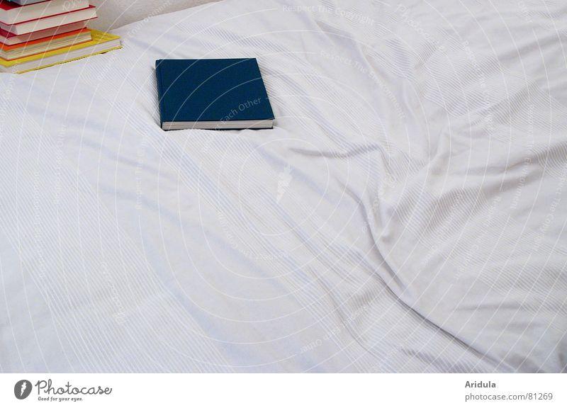bettbücher hell Zusammensein Buch lernen Studium Schriftzeichen Buchstaben lesen Bett Bildung Klarheit Falte Medien Stapel Printmedien Bettlaken