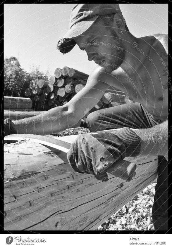 Holz Haus Bau Holzhaus Arbeit & Erwerbstätigkeit Arbeiter Waldarbeiter Holzarbeiten Baum Handwerk Kunst Natur handwerkskunst natürlich ökologisch häuten Messer