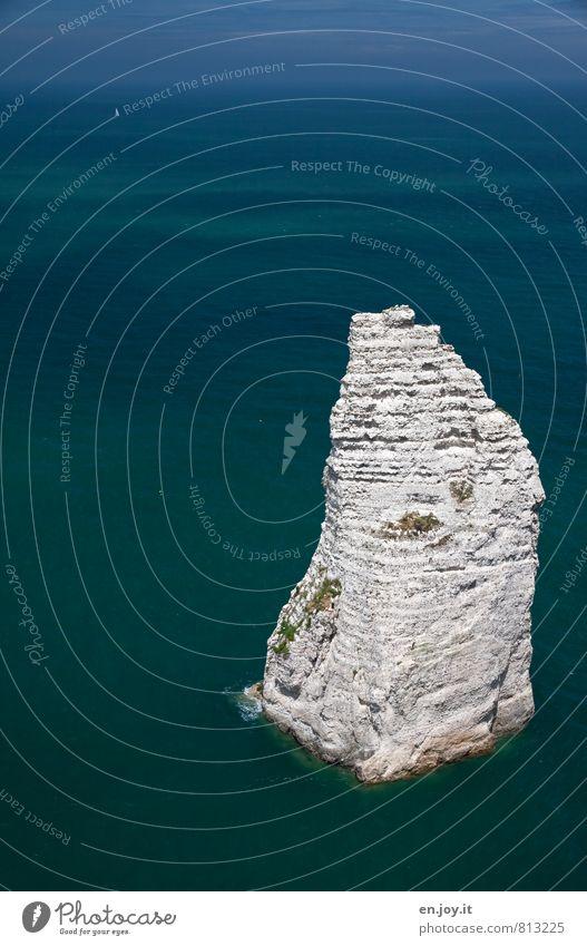 Steilufer Natur Ferien & Urlaub & Reisen blau weiß Wasser Meer Einsamkeit Landschaft Ferne Freiheit außergewöhnlich Felsen Horizont Klima Insel Abenteuer