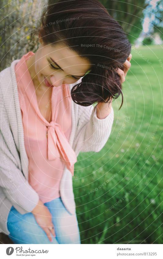 Jugendliche schön Erholung Junge Frau Freude Wärme Leben feminin lustig Stil Denken Gesundheit außergewöhnlich Garten Freizeit & Hobby glänzend