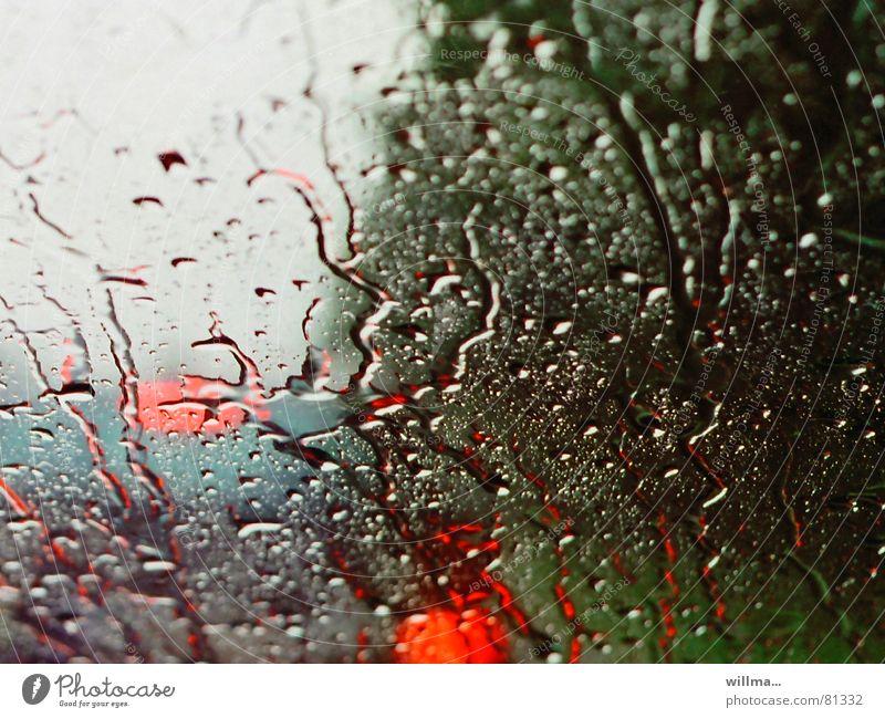 regen schlecht wetter sicht autofahrt frontscheibe Ferien & Urlaub & Reisen Wasser rot kalt Traurigkeit Regen Wetter Verkehr Wassertropfen nass Regenwasser