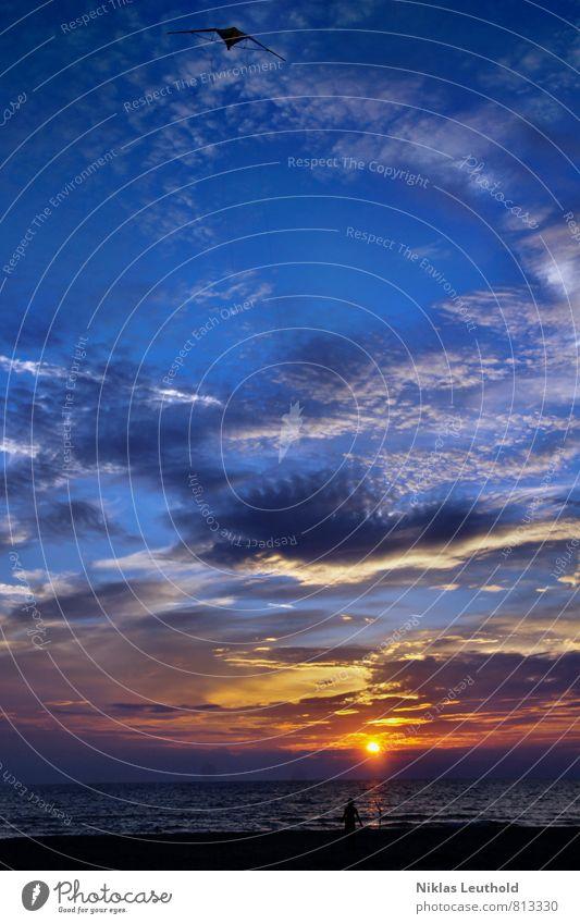 Sonnenuntergang am Meer Lenkdrachen Ferien & Urlaub & Reisen Sommer Sommerurlaub Kind Junge Leben Landschaft Wasser Himmel Wolken Sonnenaufgang Sonnenlicht