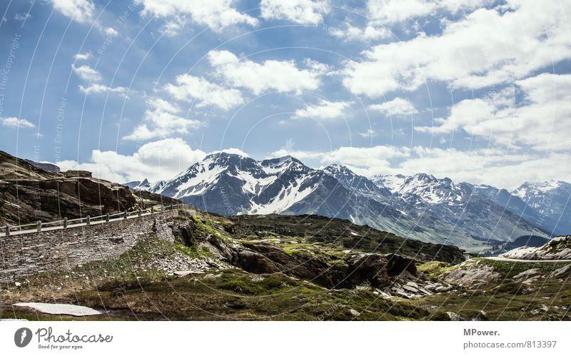 passsptraße Landschaft Umwelt Felsen Wetter hoch Schönes Wetter Alpen Schneebedeckte Gipfel Schweiz Pass Wolkenhimmel