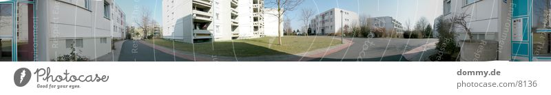 Ghetto-Panorama-360° Würzburg Panorama (Aussicht) Wiese Haus Architektur Heuchelhof Leben groß Panorama (Bildformat)