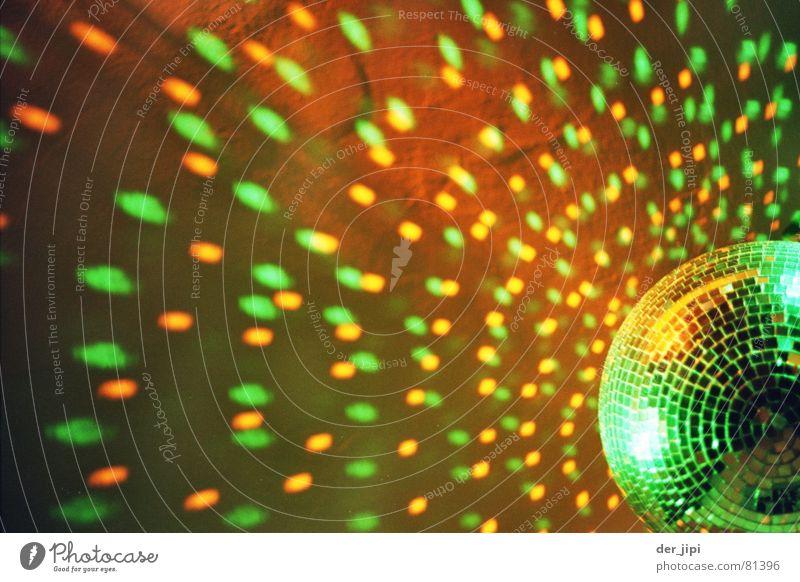 Gekugelte Lichtflecken grün gelb Party orange Beleuchtung Feste & Feiern Dekoration & Verzierung Kreis rund retro Disco Spiegel Konzert Club drehen Diskjockey